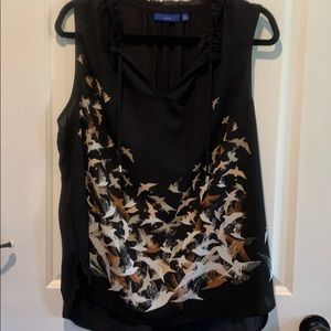 Black blouse with tan bird designs